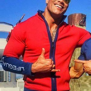 Movie Baywatch Dwayne Johnson Wearing Red Lifeguard Jacket