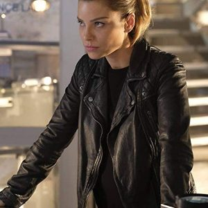 Mathilde Ollivier Wear A Black Leather Jacket