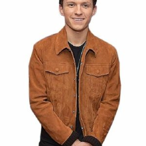 Tom Holland Suede Brown Leather Jacket