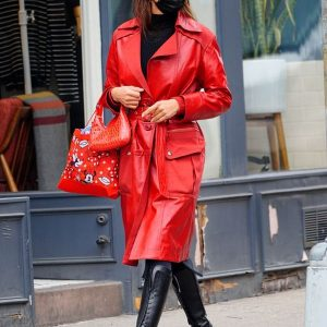 Go for red like Irina with Red Leather Coat