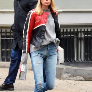 Elsa Hosk black and red leather jacket