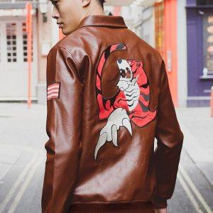 Video game series Ryo Hazuki Logo Leather Jacket