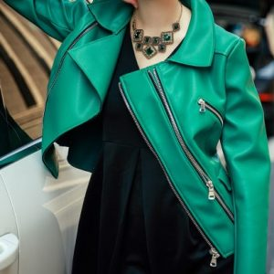 Women Double Asymmetric Green Leather Motorcycle Jacket