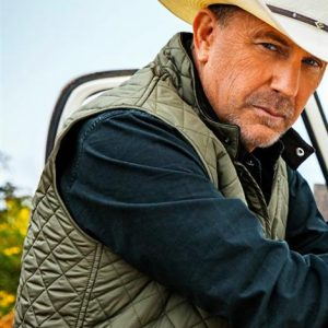 Kevin Costner Yellowstone John Dutton Green Quilted Vest
