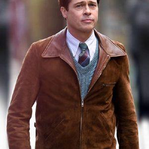 Brad Pitt Allied Suede Leather Jacket