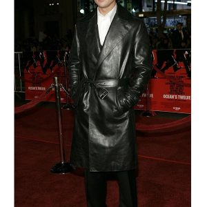 American Actor William Bradley Pitt Black Leather Coat