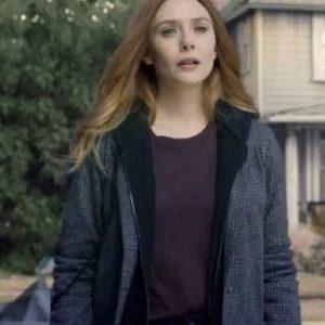 Elizabeth Olsen Grey Coat