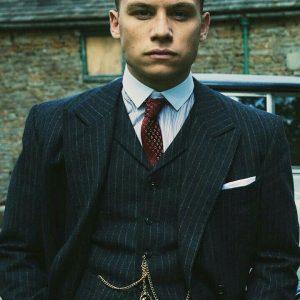 Finn Cole Peaky Blinders pinstripe Black Coat