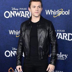 Actor Tom Holland Black Jacket Movie Onward