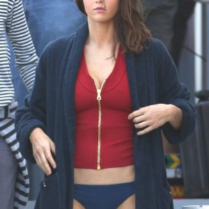 Alexandra Daddario Wear Red Vest and Outwear is Bath Robe