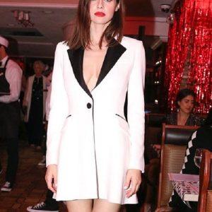 Alexandra Daddario Wear White Blazer