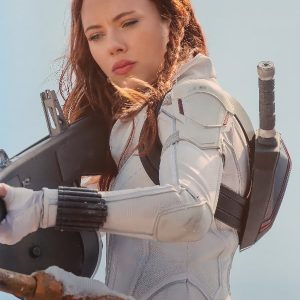 Scarlett Johansson Wearing Costume Jacket in Film Black Widow