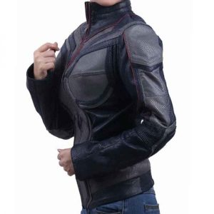 Evangeline Lilly Wearing Costume Leather Jacket In Ant-Man and the Wasp Film