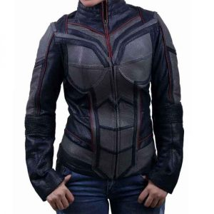 Evangeline Lilly Wearing Costume Leather Jacket In Ant-Man and the Wasp