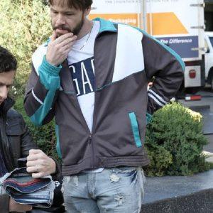 Ike Barinholtz Waring tracksuit style jacket in Brooklyn Nine-Nine