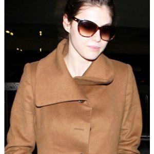 Alexandra Daddario Wearing Brown Coat