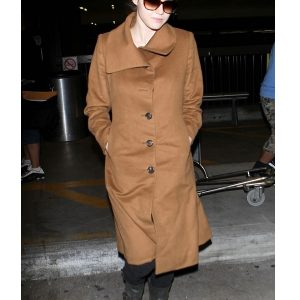 Alexandra Daddario Wearing Wool Brown Coat