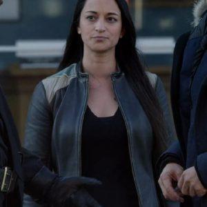 Sara Tomko Wearing Leather Jacket In Resident Alien Love Language