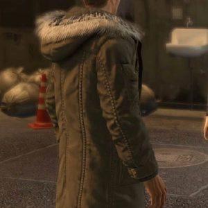 Taiga Saejima Wearing Green Faux Fur Hoodie Coat In Video Game Yakuza 5
