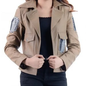 A Young Women Wearing A Brown Leather Jacket Inspired buy Manga Series Attack on Titan