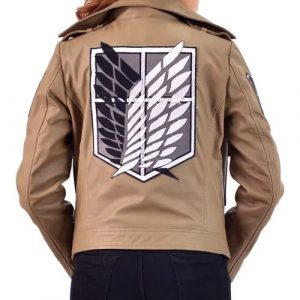 A Young Women Wearing A Brown Leather Jacket Manga Series Attack on Titan