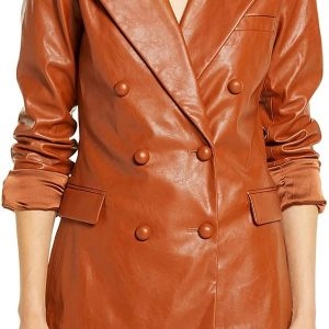 A Young Girl Wearing Vintage Tan Brown Leather Blazer