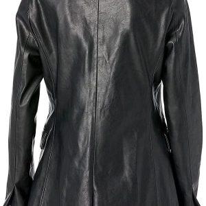 Women Black Leather Blazer