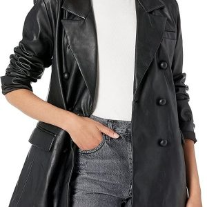 A Young Women Wearing a Black Leather Blazer