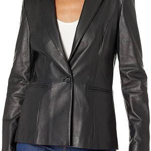 A WomenWearing Single Vent Black Leather blazer