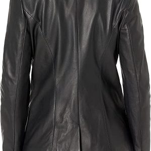 A WomenWearing Single Vent Classic Black Leather blazer