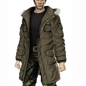 Taiga Saejima Wearing Green Faux Fur Hoodie Coat In Yakuza 5