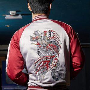 Young Men Wearing Video Game Series Yakuza The Dragon of Dojima Cosplay Jacket