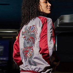 Young Girl Wearing Video Game Series Yakuza The Dragon of Dojima Cosplay Jacket
