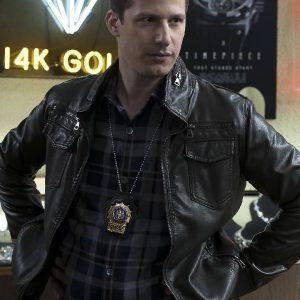 Andy Samberg Wearing Black Leather Jacket In Brooklyn Nine-Nine TV Show