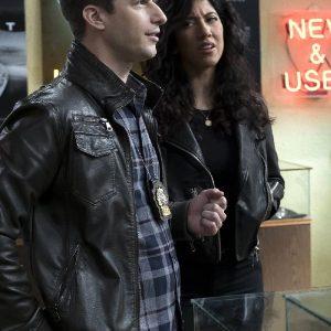 Andy Samberg Wearing Black Leather Jacket In Brooklyn Nine-Nine TV Series