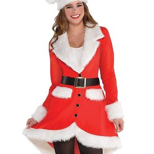 A Young Women Wearing Santa Christmas Red Frock