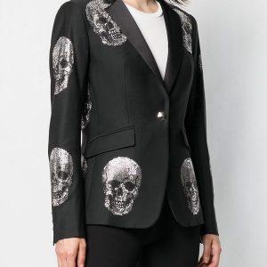 A Young Women Wearing Skull Design Costume Blazer