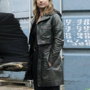 Emily VanCamp Wearing Leather Coat In The Falcon and the Winter Soldier as Sharon Carter