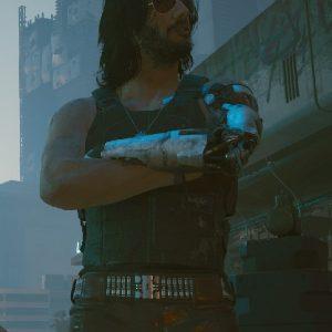 Keanu Reeves Wearing Black Leather Vest In Cyberpunk 2077 as Johnny Silverhand