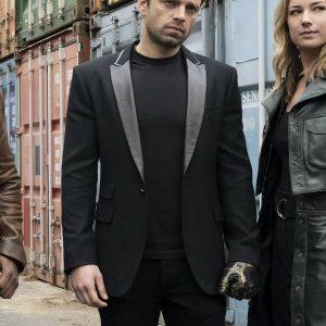 Sebastian Stan Wearing Black Tuxedo In The Falcon and the Winter Soldier as Bucky Barnes