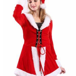 Women Christmas Clothing Sexy Miss Santa Costumes Dress