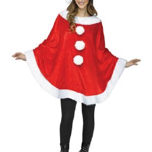 A Women Wearing Red Color Christmas Eva Santa Costume Poncho